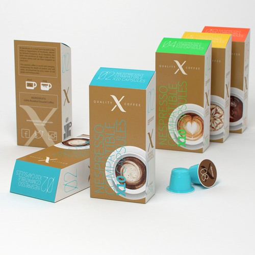 Capsule design with the title 'Luxurious Coffee Capsule box'