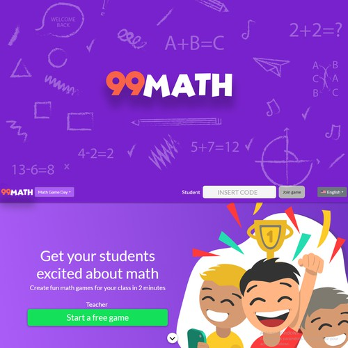 Mathematics logo with the title 'Logo concept for an online math games website for kids'