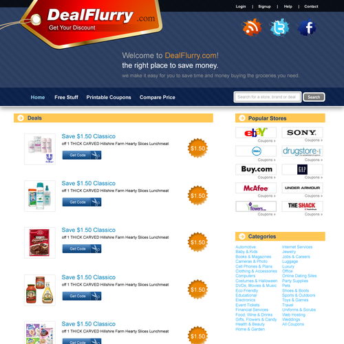 Deal design with the title 'Coupon Website Design'