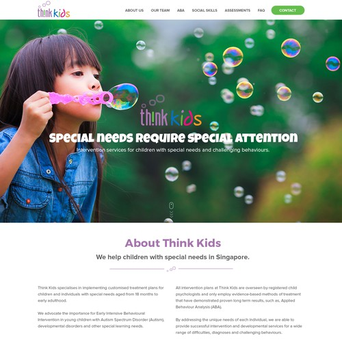 Center design with the title 'Re-Design Child Psychologist Website'