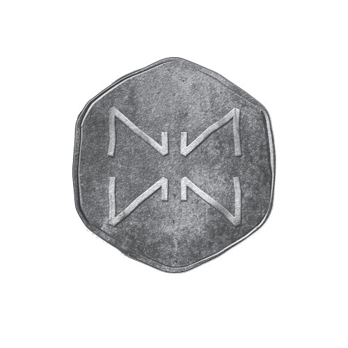 Metal brand with the title 'Aged coin design'
