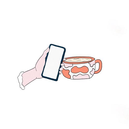 Hand artwork with the title 'coffee  mug illustration'
