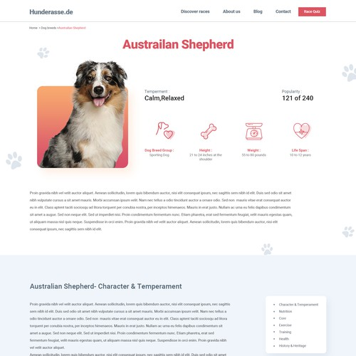 Pet website with the title 'Website home page'