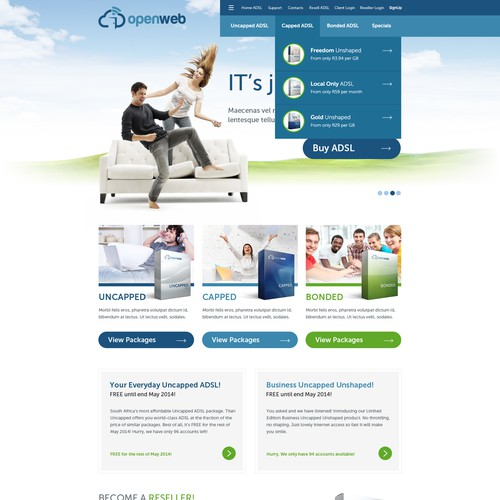 Communications design with the title 'National Broadband Provider requires stunning new website'