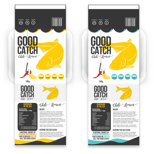 Typography packaging with the title 'Label design concept for fish product.'