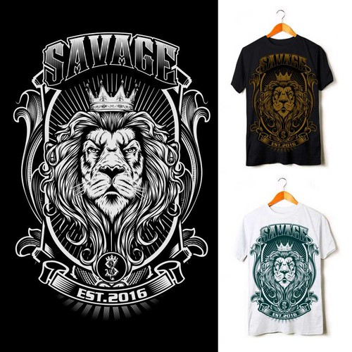 Lion t-shirt with the title 'Savage'