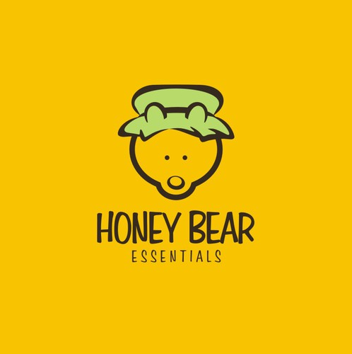Jar logo with the title 'Create a simple and clean yet elegant and creative logo that incorporates a honey bear and essential oils!'