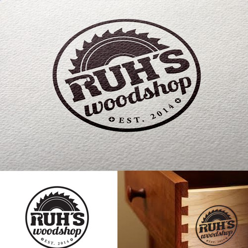 Saw design with the title 'Creative, clean & refined, memorable logo that references woodworking (dovetail joint, saw blade?)'