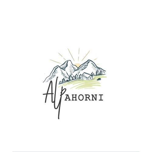 Grass design with the title 'Logo for Alp Ahorni Dairy Farm'