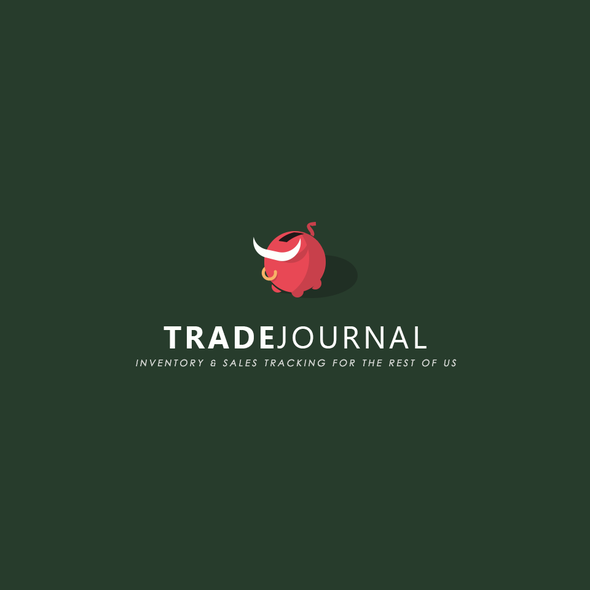 Piggy bank logo with the title 'Trade Journal'