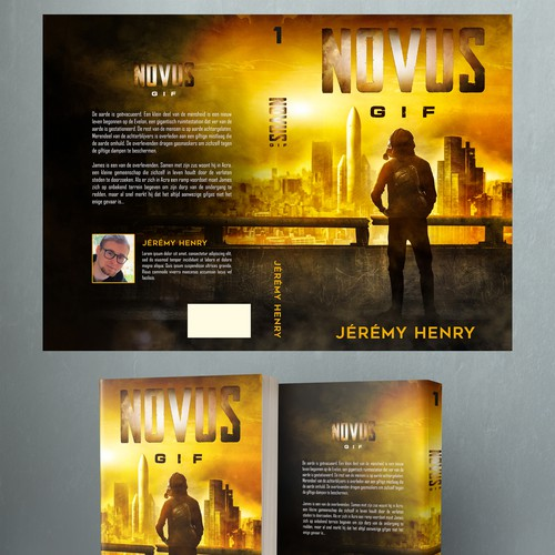 Post-apocalyptic book cover with the title 'NOVUS GIF'