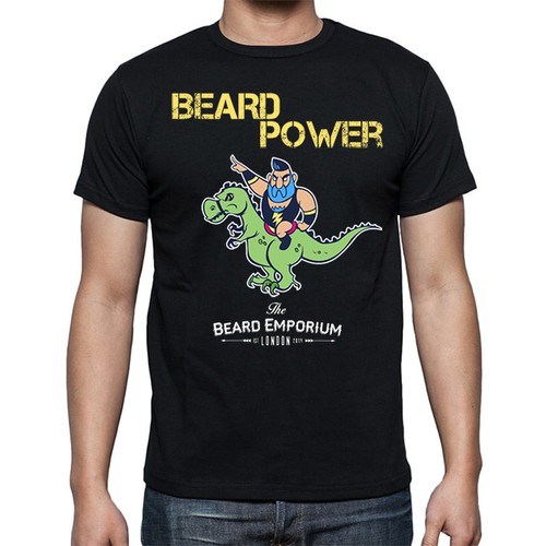 T-rex design with the title 'Strongman character design creation for The Beard Emporium.com'