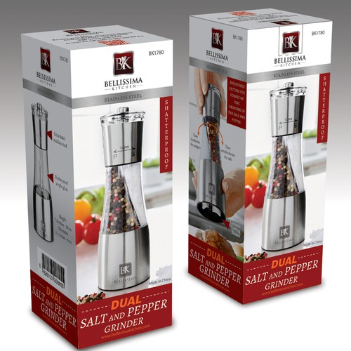 Home packaging with the title 'Salt and Pepper Grinder Package design'