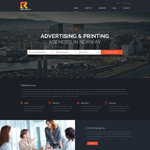 Agency website with the title 'Reklame.net - Looking for Advertising and Printing agencies in Norway'