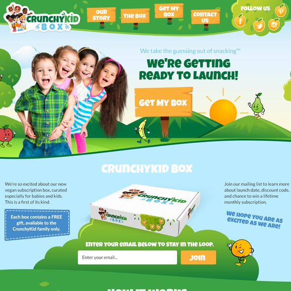 Family website with the title 'Website for Upbeat and Health Conscious Vegan Kids'