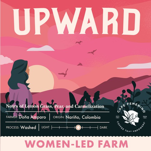 Feminine packaging with the title 'Illustration for Upward'