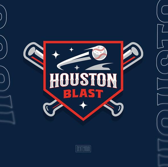 Baseball bat design with the title 'Houston Blast Logo'