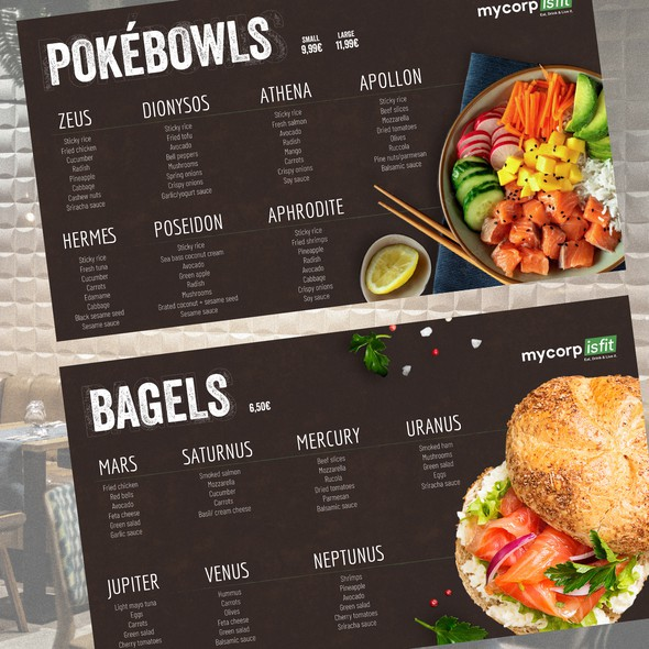 Fresh design with the title 'Healthy fresh menu screen'