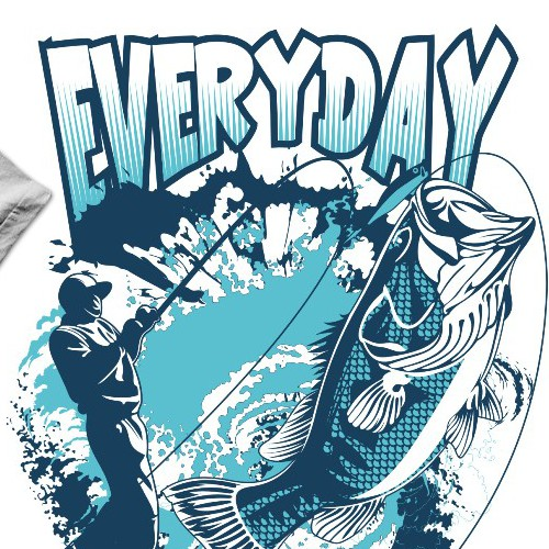 Fish t-shirt with the title 'Create Designer Bass Fishing T-Shirt'