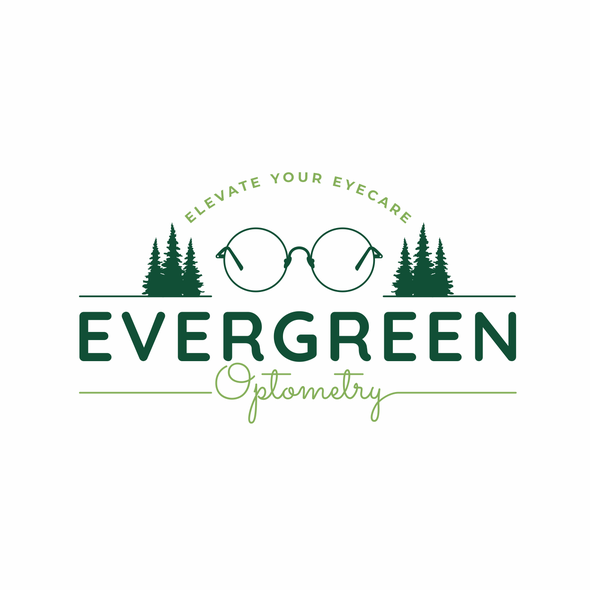 Optometry design with the title 'Evergreen Optometry'