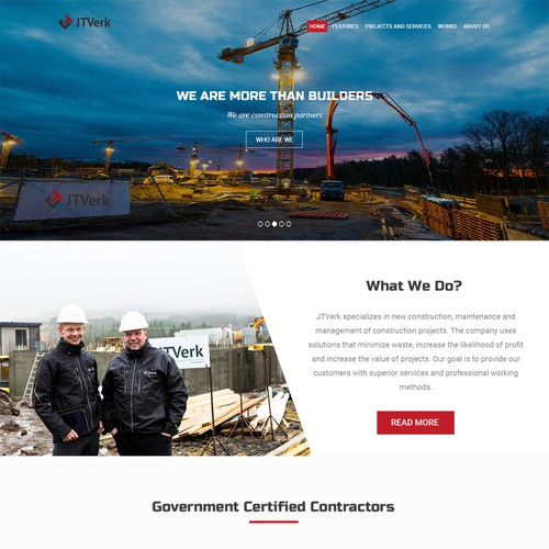 Easy-to-use website with the title 'Construction Theme'