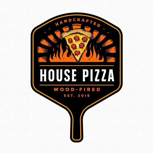 Hand-drawn logo with the title 'HOUSE PIZZA'