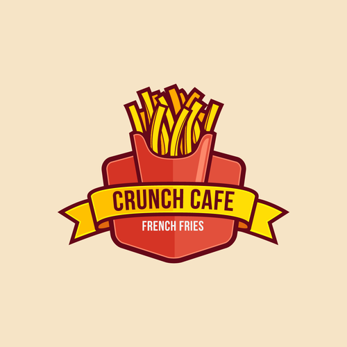 Fast food logo with the title 'Crunch Cafe Logo Badge'