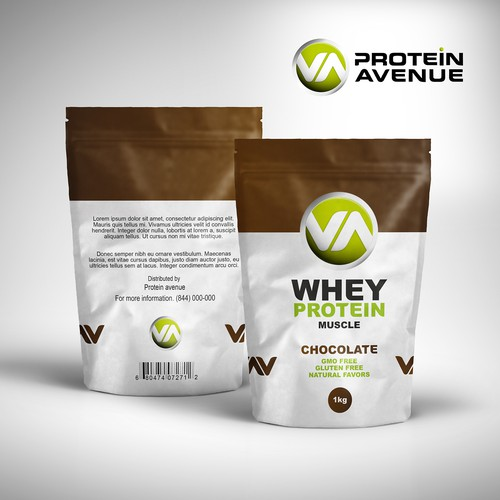 Vitamin packaging with the title 'Chocolate protein supplement product label design concept'