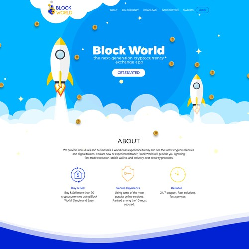 Homepage website with the title 'Cryptocurrency Website Design'