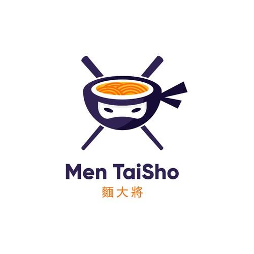 Japanese logo with the title 'Ninja + Ramen Logo Concept'