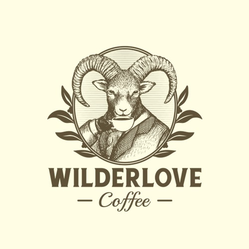 Ram logo with the title 'Wilderlove Coffee'