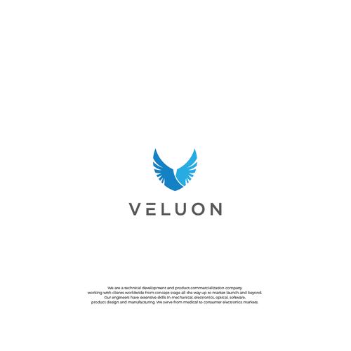 Optical logo with the title 'Veluon'