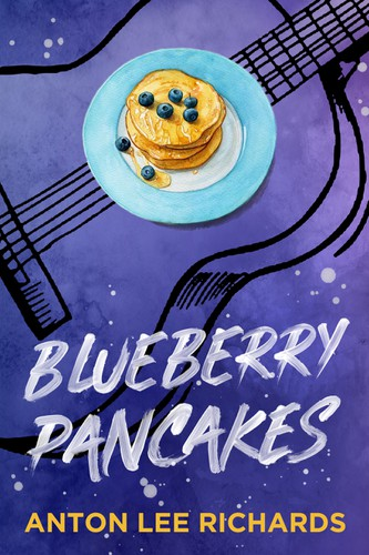 Colorful book cover with the title 'Blueberry Pancakes - Fiction (LGBT novel)'