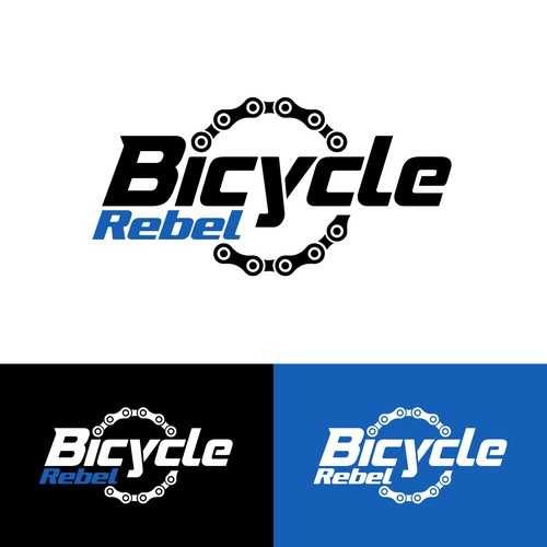 Mountain biking logo with the title 'Bicycle Rebel'