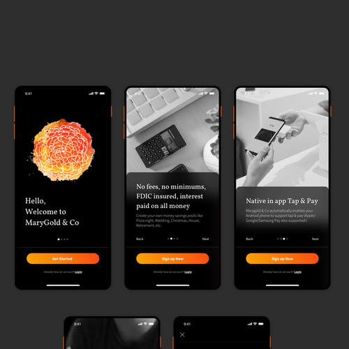 Onboarding design with the title 'Onboarding app for marygold & co'