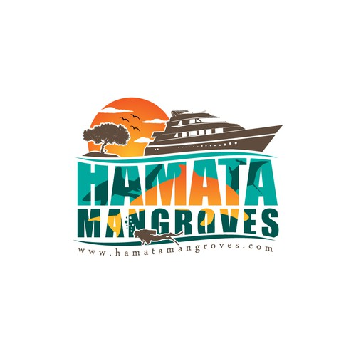 Diving logo with the title 'Winning Design for Hamata Mangroves'