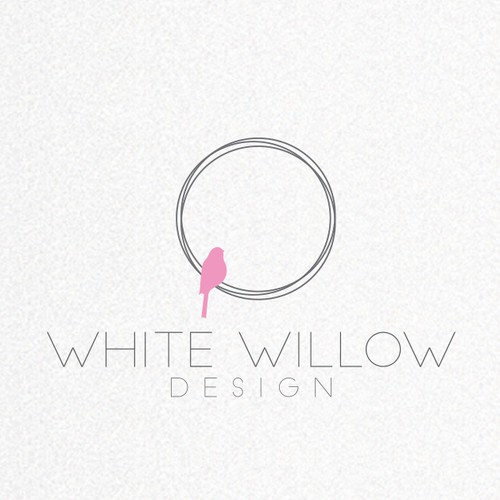 Purple and white logo with the title 'Create an inspiring and fun identity for White Willow Kids - making kids spaces sparkle!'