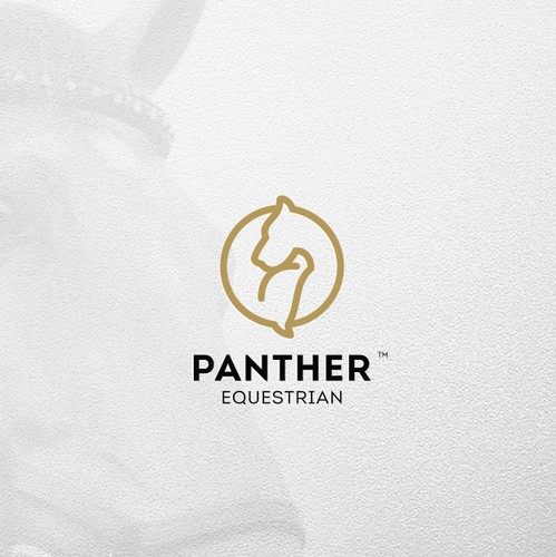 Wood circle logo with the title 'Horse Panther logo mark combo'