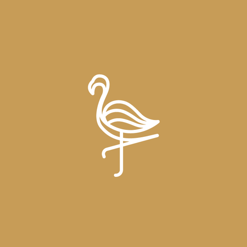 Flamingo logo with the title 'Flamingo logo with line style'