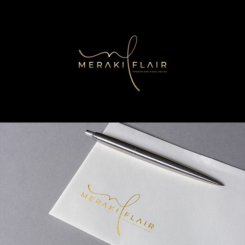 Interior design logo with the title 'Logo Design Meraki Flair'