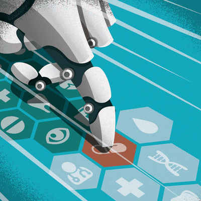 AI in Drug Development Editorial Illustration