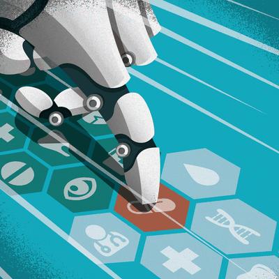 AI in Drug Development Editorial Illustration