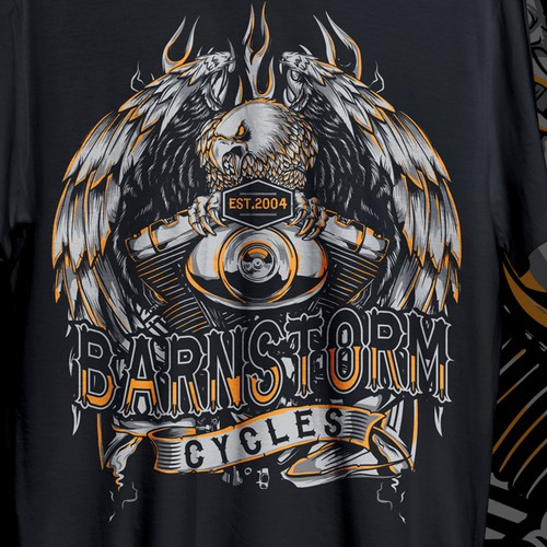 Harley Davidson design with the title 'TSHIRT DESIGN FOR BARNSTORM MOTORCYLE'
