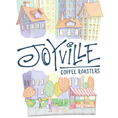 Ink illustration with the title 'Watercolor cityscape for coffee brand'