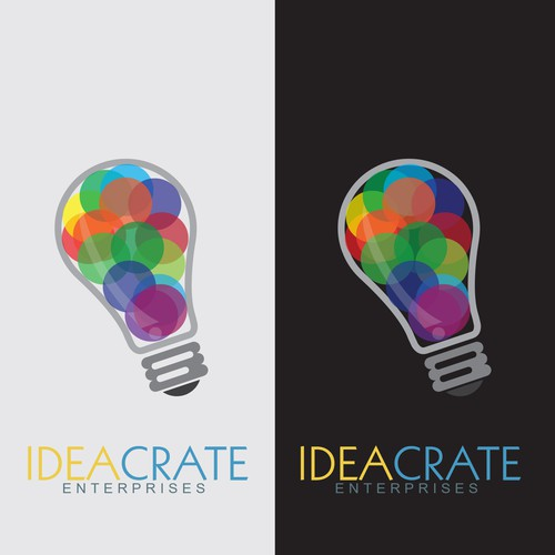 Bulb brand with the title 'Ideacrate logo'