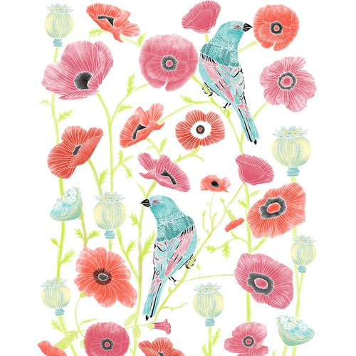 Fauna design with the title 'Modern Bird and Flower illustration'