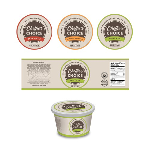 Heritage label with the title 'Packaging Label Design For Handcrafted Heritage Ready-to-eat-Soup'