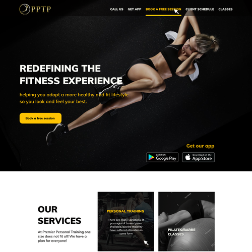 Gym website with the title 'Gym Landing Page Design'