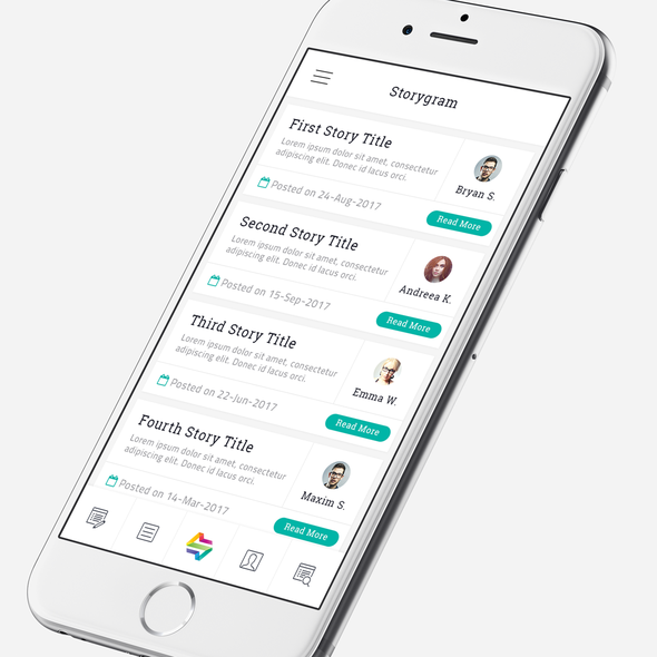 Cyan design with the title 'App Design for Storygram'