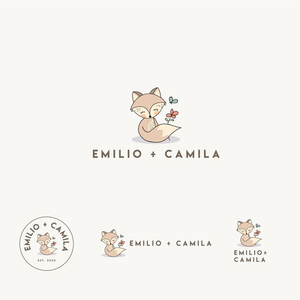 Baby logo with the title 'Emilio + Camila '